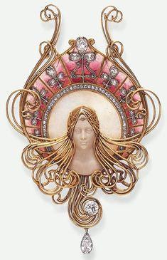 A RARE ART NOUVEAU DIAMOND, OPAL, HARDSTONE AND ENAMEL PENDANT, BY GABRIEL FALGUIERES. Featuring a carved hardstone female bust adorned by a diamond collet head ornament, within a surround of gold wirework tresses, accented by old European-cut diamond detail and a pear-shaped diamond terminal, set against a carved opal frame, to the rose coloured plique-à-jour enamelled border, enhanced by pear-shaped and rose-cut diamond foliate motifs and trim, mounted in gold, circa 1901.