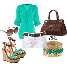 Teal Green Button Up Blouse + Brown Belt + White Shorts + Wedges