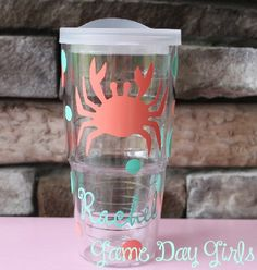Emailed to see if they can put the island on the cup starring the location & wedding info Monogram Tumblers, Vinyl Tumblers, Tervis Tumbler, Acrylic Tumblers, Lobsters, Crabs, Vinyl Projects, Craft Projects, Bridesmaid Cups
