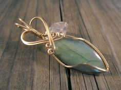 ON SALE Wire Wrapped Pendant Labradorite in Gold by ParkerPendants
