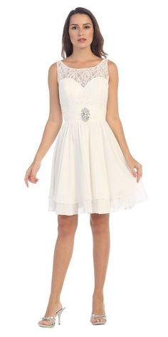 5709e739fe2 CLEARANCE - Starbox USA S6146 Sleeveless Bateau Neck Lace Bodice Short Dress  Off White (Size 3XL)