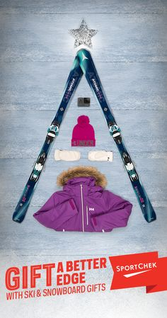 This holiday, give the gift of adrenaline with some of this season's top ski gifts. #GiveABetterGift Top to bottom: 1. Atomic Vantage X 80 CTI Women's 16/17 Skis  2. GoPro Hero5 Black Camera 3. Under Armour Graphic Pom Women's Beanie 4. Hestra Dexterity Czone Women's Mitt  5. Helly Hansen Sunshine Women's Insulated Jacket