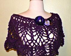 On Sale- Purple Flower Festival Poncho Top Caplet Cape Shawl Hippie Crochet  Freeform Lace Summer Boho Wrap