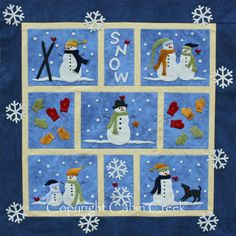 Snow Wool Applique Quilt pattern, x at Cabin Creek Designs Wool Applique Quilts, Applique Quilt Patterns, Wool Quilts, Appliqué Quilts, Block Patterns, Small Quilts, Mini Quilts, Snowman Quilt, Winter Quilts
