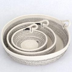 California inspired cotton rope baskets handcrafted in the Danish modern Scandinavian style. Rope Basket, Basket Bag, Basket Weaving, Rope Crafts, Yarn Crafts, Fabric Bowls, Sewing Class, Clothes Line, Cotton Rope