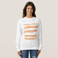 Ladies' White Sweatshirt with Orange Tiger Stripes - winter gifts style special unique gift ideas