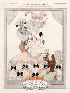 George Barbier 1923 La toilette de Vénus, La Mythologie Galante, Topless