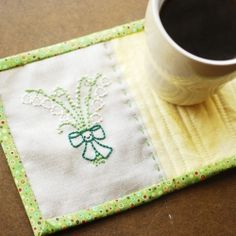 Learn how to do quilt binding as you sew this simple embroidered mug rug!
