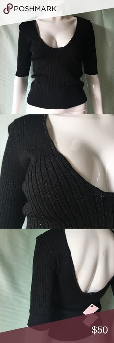 Black rib knit open back blouse Striped with a touch of glitter threads 100% Viscose/ Lurex Nasty Gal Tops Crop Tops