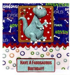 Fabosaurus Birthday    Boys Square 8x8 Card on Craftsuprint - View Now!