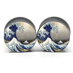 Stainless Steel Double Flare Great Wave Ear by CustomEarGauges