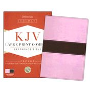 KJV Large Print Compact Bible, Pink & Brown Simulated Leather - Imperfectly Imprinted Bibles
