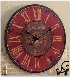 Large FRENCH COUNTRY Distressed Grand Hotel WALL CLOCK Tuscan Red NEW