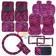 Hot Pink Zebra Animal Car Seat Covers Accessories Complete Set -Full 18pc at ... cutesense.com