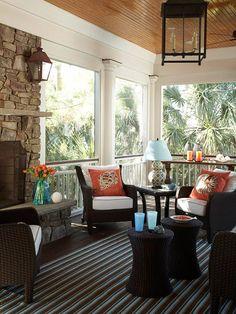 Cozy Screen Porch- love the columns, fireplace and dark furniture! Also love the window porches that can be closed for the winter and fresh air during warm months! my-better-homes-and-gardens-dream-home Outdoor Rooms, Outdoor Living, Indoor Outdoor, Outdoor Patios, Outdoor Kitchens, Ideas Terraza, Interior Exterior, Interior Design, Jardin Decor