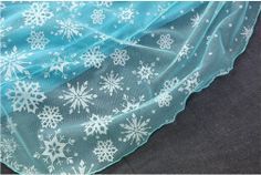 mat2 white snow Frozen Inspired Elsa blue mesh fabric with white snowflake printing 138CM Wide