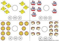 Færre end, lig med, flere end, Kindergarten Math Activities, Math Literacy, Guided Math, Preschool Worksheets, Teaching Math, Preschool Activities, Classroom Language, Math Classroom, Math Help