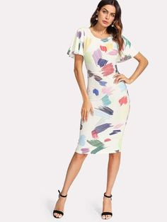 Flutter Sleeve Split Back Pencil Dress