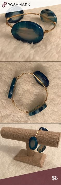 Blue oval-stones gold bangle This bangle is beautiful as a statement piece alone or worn with other bangles in a set. hand-crafted Jewelry Bracelets