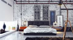 Contemporary-and-Stylish-Bedroom-with-white-brick-walls1.jpg (1025×574)