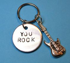 Music Gift Gift for him Guitar keyring by BeesHandStampedGifts