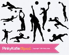 Beach Volleyball INSTANT DOWNLOAD silhouette cilipart digital PNG files on Etsy, $66.00