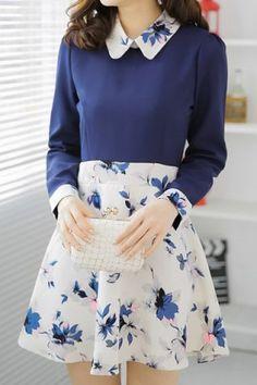 Sweet Flat Collar Floral Print Long Sleeves Dress For Women