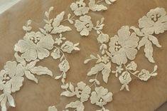 Ivory Bridal Lace Applique Venice Applique Pair for by lacetime