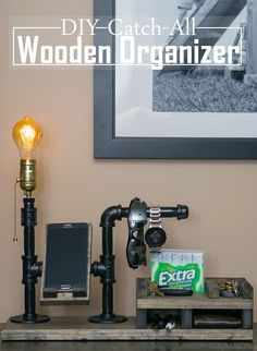 DIY Catch-All Wooden Organizer with Phone Dock & Lamp #GIVEEXTRAGETEXTRA #Walmart #ad