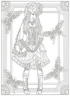Steampunk Adult Coloring. Artwork by Marty Noble. Creative Haven Steampunk Fashions Coloring Book, Dover Publications