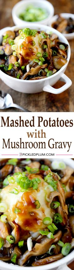 Creamy and Healthy Mashed Potatoes with Shiitake Mushroom Gravy - Comfort food without the guilt! http://www.pickledplum.com/mashed-potatoes-mushroom-gravy/