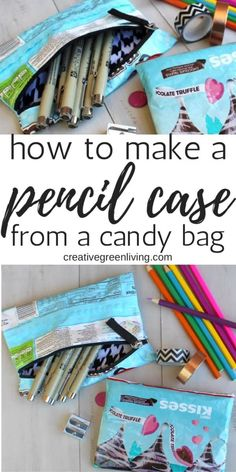 I love this upcycled candy wrapper craft! Learn how to make an easy zippered pencil case from an empty candy bag. This is a great way to recycle empty food wrappers into a useful zipper pouch with this simple sewing tutorial. Upcycled Crafts, Diy And Crafts, Craft Projects, Sewing Projects, How To Make An Envelope, Back To School Crafts, Zipper Pouch Tutorial, Green Craft, Candy Wrappers