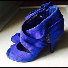 Miss Bissou blue heels Indigo blue color heels. Back zipper. Only worn once indoors and in great condition. Shoes Heels