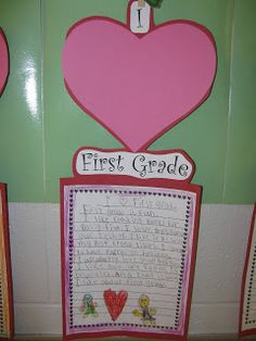 Valentine's Writing prompt - What do you love about first grade?