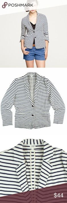 """JCREW Navy Slub Stripe Knit Maritime Blazer Jacket Excellent condition! This navy blue and eggshell Ivory stripe Slub knit jacket from JCREW features button closures, front pockets and is unlined. Made of 100% cotton. Measures: Bust: 38"""", total length: 23"""", sleeves: 22.5"""" J. Crew Jackets & Coats"""
