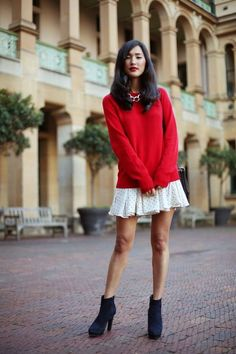 Love the cute sweater skirt combo!! X
