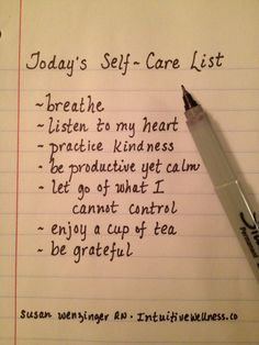 Caregivers and the people they care for who may be suffering from chronic pain or other discomfort...here is a great to-do list for each day.