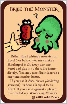 Home-Made Munchkin Cards - Bribe the Monster by nathangignac on DeviantArt