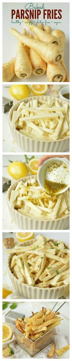 Super addictive Healthy Crispy Parsnip Fries with lemon + olive oil + mint + garlic. Only 85 kcal/100 g, 4WW.