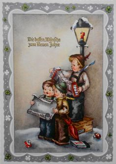 LORE HUMMEL - 3 KINDER singen an Neujahr an der Laterne, Pilze - c1950 Christmas Carol, Christmas And New Year, Vintage Christmas, Xmas, New Year Card, Christmas Illustration, Vintage Greeting Cards, Vintage Pins, Calendar 2020
