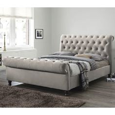 Furniture In Fashion Balmoral Fabric Super King Size Bed In Champagne With Dark Feet Upholstered Bed Frame, Upholstered Ottoman, Upholstered Platform Bed, Headboard And Footboard, Fabric King Size Bed, Super King Size Bed, Bedroom Sets, Master Bedroom
