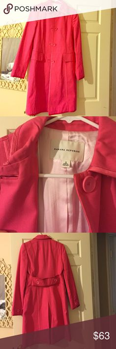 Banana Republic trench coat Excellent condition bright pink Banana Republic coat. Absolutely gorgeous. Size small. Only worn once. Banana Republic Jackets & Coats Pea Coats