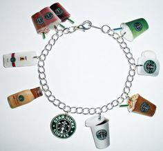 Starbucks Charm Bracelet Coffee Frappuccino Tea by NMDCreations, $17.50