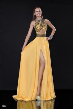 30606ff4ea Sexy Front Cut Out High Slit Long Yellow Chiffon Beaded Prom Dress