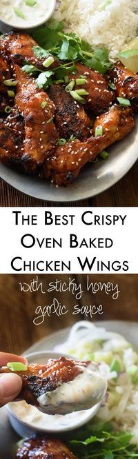You may never fry a chicken wing again after you taste these crispy oven baked chicken wings! Get all the tricks and tips for the perfect wings and smother them in a delicious sticky honey garlic sauc (Baked Chicken Meals) Best Chicken Recipes, Turkey Recipes, Chicken Meals, I Love Food, Good Food, Tapas, Crispy Baked Chicken Wings, Garlic Chicken, Honey Garlic Sauce