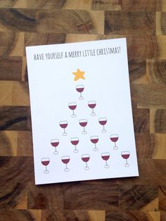 Funny Christmas Card Wine Card Funny Greeting by HiLoveGreetings