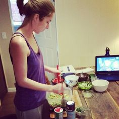 Marissa making Avocado Salad
