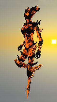 Minecraft Statue Flame Atronach Wallpaper