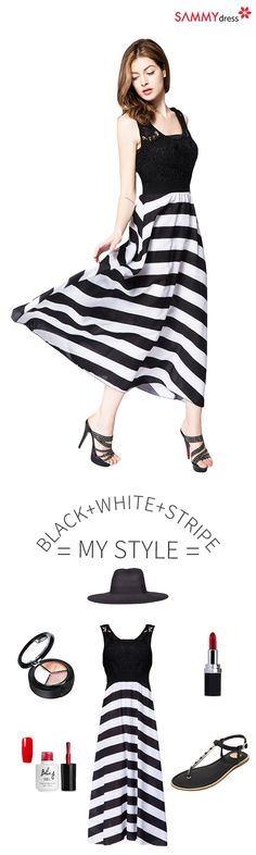 Sammydress Styles | Black + White + Stripe = our thing! You don't need another fail-safe skirt. This is your Summer Dress! Shop Sammydress.com.