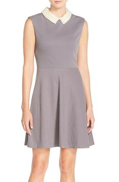 Betsey Johsnon Pearl Collar Jacquard Fit & Flare Dress available at #Nordstrom